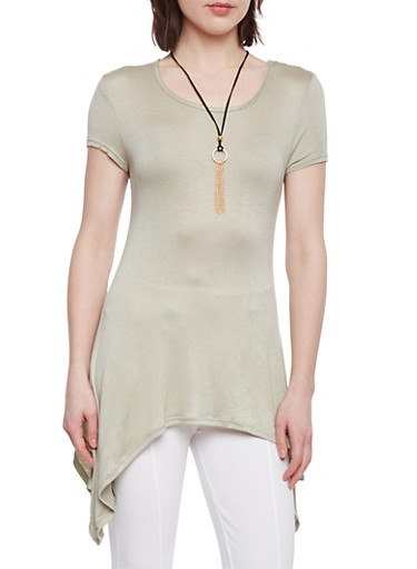 Short Sleeve Sharkbite Tunic Top with Necklace,SAGE,large