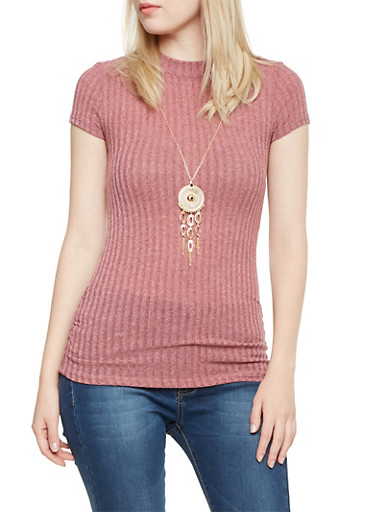Rib Knit Tunic Top with Faux Necklace,MAUVE,large