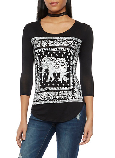 Top with Elephant Graphic,BLACK/WHITE,large
