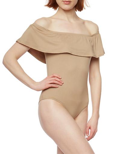 Off the Shoulder Bodysuit with Ruffle Ovelay,KHAKI,large