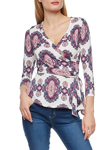 Paisley Print Faux Wrap Front Top,IVORY,large