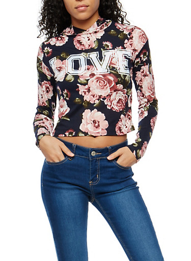 Floral Graphic Hooded Top,NAVY,large
