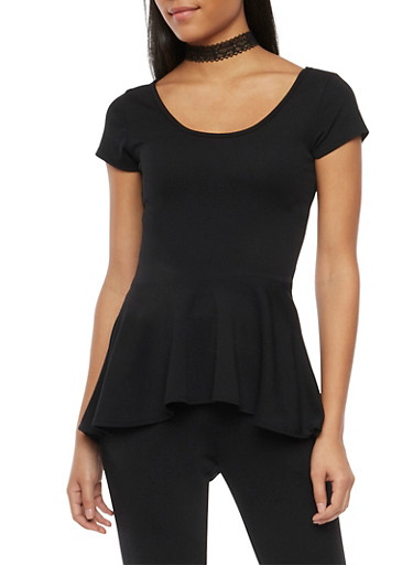 High Low Peplum Top with Lace Choker,BLACK,large