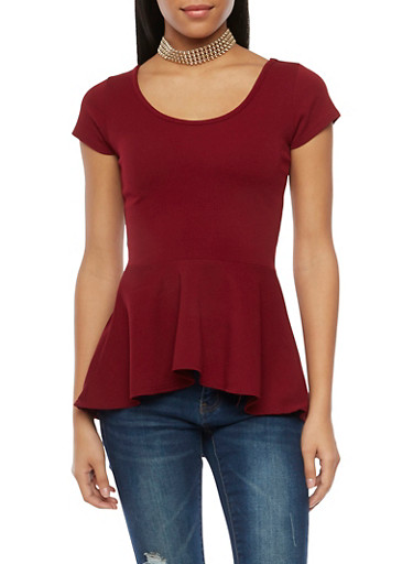 Peplum Top with High Low Hem and Necklace,WINE,large