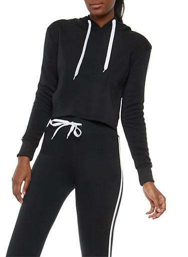 Varsity Stripe Cropped Hooded Sweatshirt,BLACK,large
