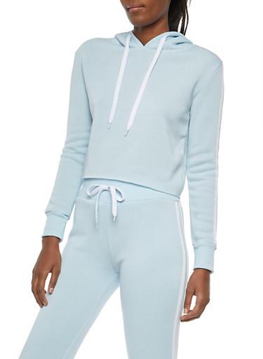 Varsity Stripe Cropped Hooded Sweatshirt,BLUE,large