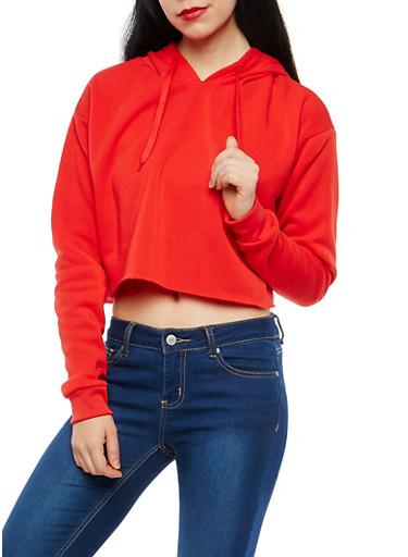 Fleece Lined Crop Sweatshirt,RED,large