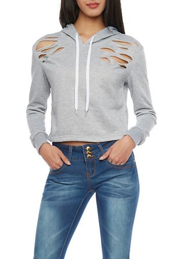 Melange Ripped Cropped Drawstring Hoodie,HEATHER,large