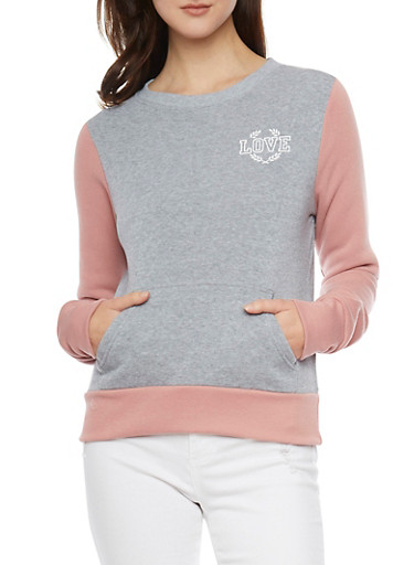Long Sleeve Sweatshirt with Love Graphic,HEATHER/MAUVE,large