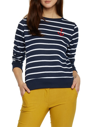 Striped Anchor Sweatshirt,NAVY,large