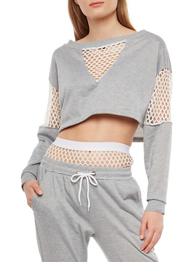 Fishnet Trim Cropped Sweatshirt,HEATHER,large