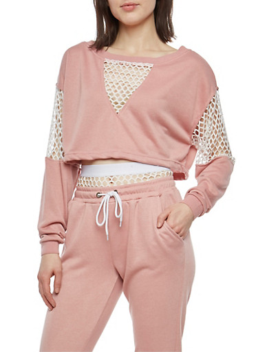 Fishnet Trim Cropped Sweatshirt,LIGHT MAUVE,large