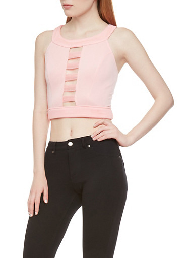 Cutout Front Crop Top with Zipper Back,BLUSH,large