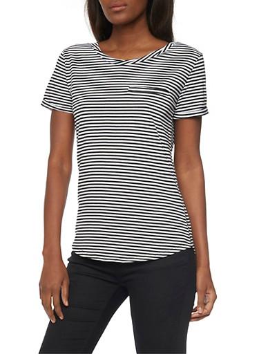 Striped Short Sleeve T Shirt,BLACK/WHITE,large