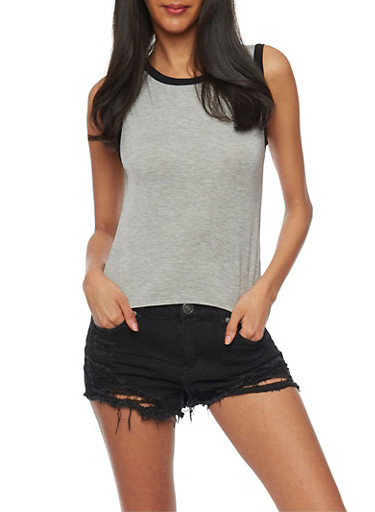 Ringer Muscle Tank Top,HEATHER BLK,large