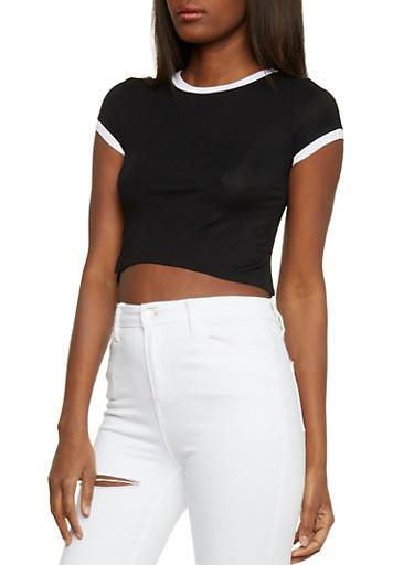 Ringer Crop Top with Side Slits,BLACK/WHITE,large