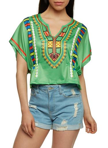 Short Sleeve Dashiki Print Kimono Top,GREEN,large