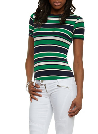 Striped Tee with Crew Neck,KELLY GREEN NAVY,large