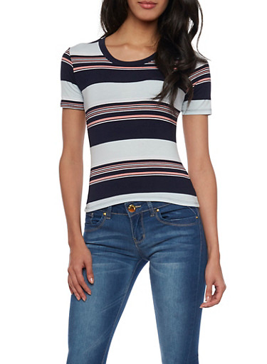 Striped Tee with Scoop Neck,NAVY/AQUA,large