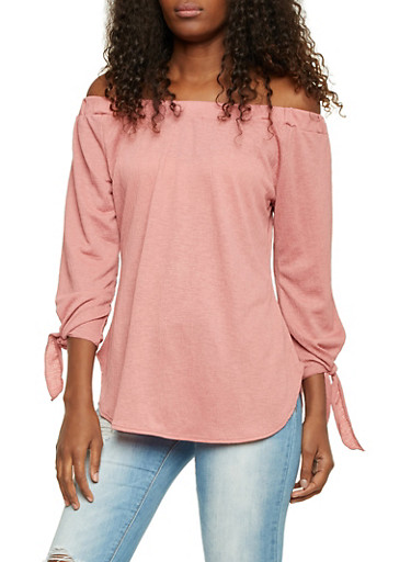 Off the Shoulder Crinkled Top with Tie Sleeves,MAUVE,large