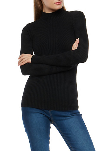 Ribbed Knit Mock Neck Sweater,BLACK,large