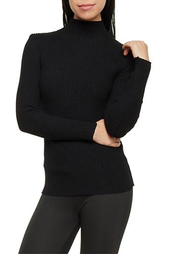Mock Neck Ribbed Sweater,BLACK,large