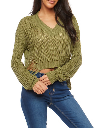 Distressed High Low Sweater,OLIVE,large