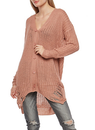 Shredded Button Front Cardigan,MAUVE,large