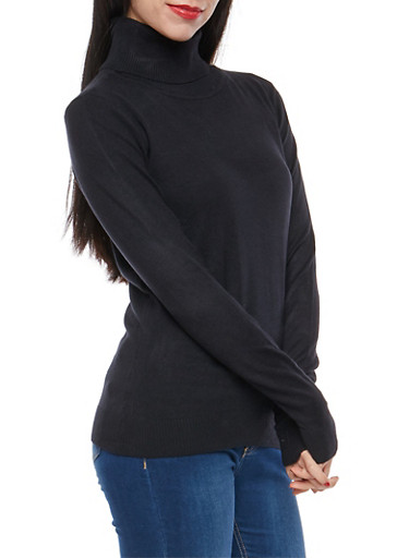 Solid Turtleneck Sweater,BLACK,large