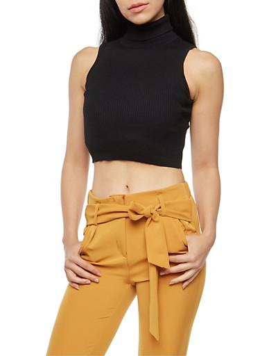 Rib Knit Turtleneck Cropped Sweater,BLACK,large