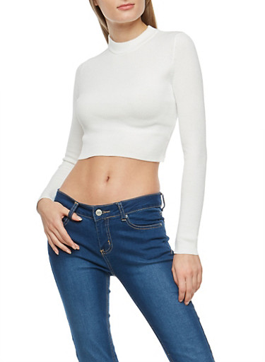 Cropped Mock Neck Sweater,STOP WHITE,large