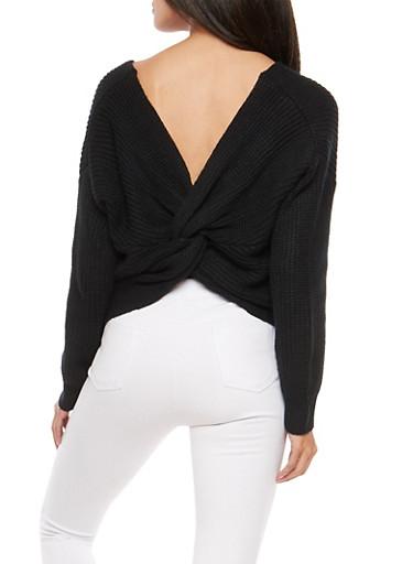 Twist Back Sweater,BLACK,large