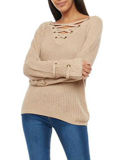 Lace Up Neck Sweater with Grommets,STONE,large