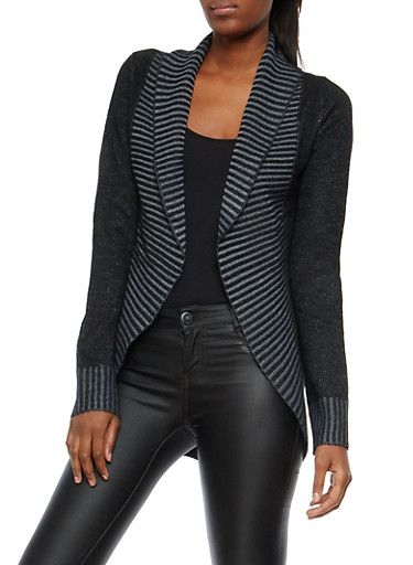 Striped Detail Open Front Cardigan,BLACK,large