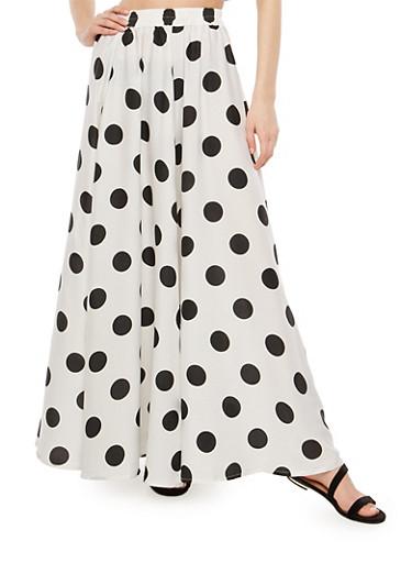 Polka Dot Maxi Skirt,WHITE BLACK,large