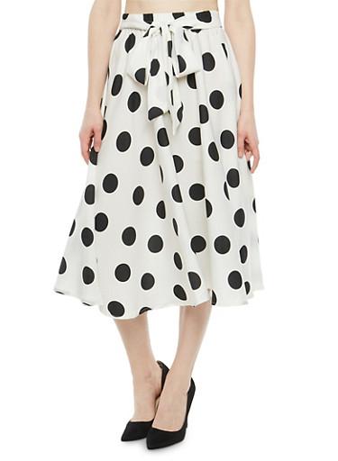Printed Skater Skirt,WHITE BLACK,large