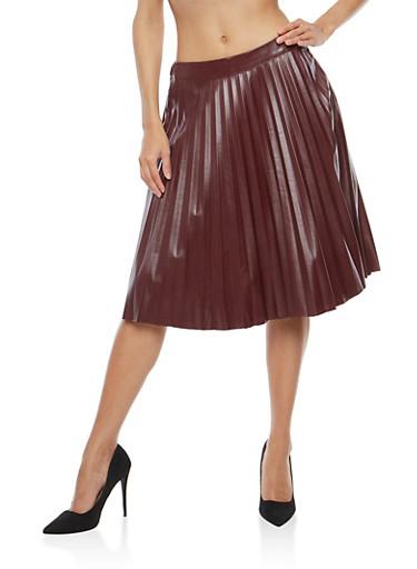 Faux Leather Pleated Midi Skirt,WINE,large