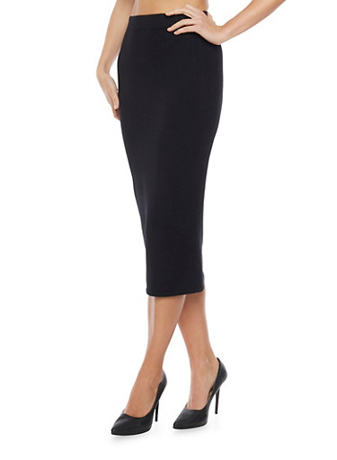 Sweater Pencil Skirt,BLACK,large