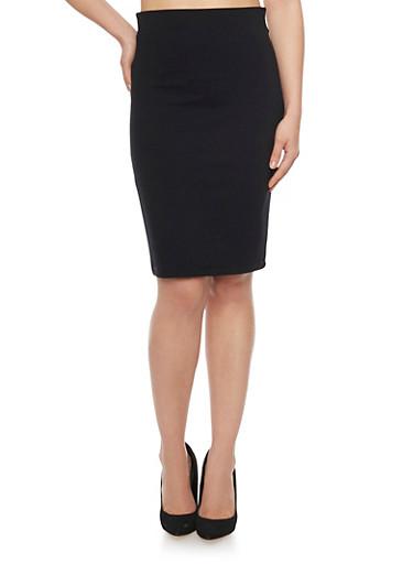 High Waisted Midi Pencil Skirt,BLACK,large