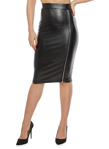 Faux Leather Zip Front Pencil Skirt,BLACK,large