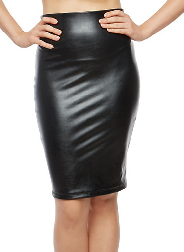 Faux Leather Pencil Skirt,BLACK,large