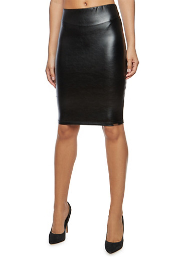 Faux Leather Pencil Skirt with Back Slit,BLACK,large