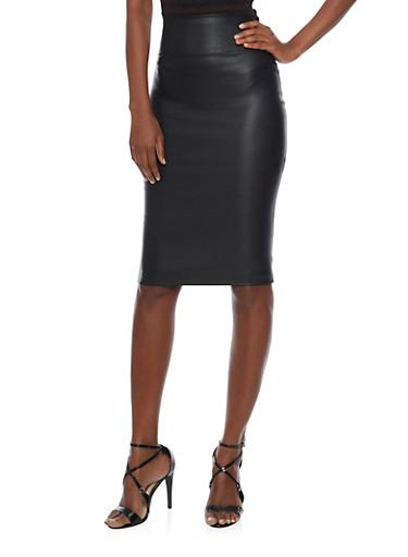 Leather Midi Pencil Skirt,BLACK,large