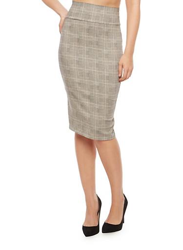 Plaid Pencil Skirt,BLACK  WHT 10690,large