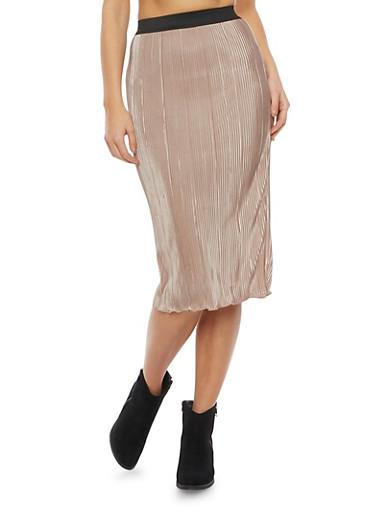 Pleated Midi Skirt,KHAKI,large
