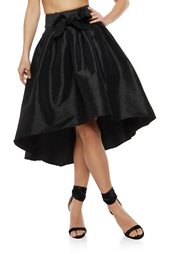 High Low Taffeta Skater Skirt,BLACK,large