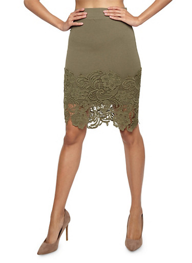 Crochet Hem Pencil Skirt,OLIVE,large