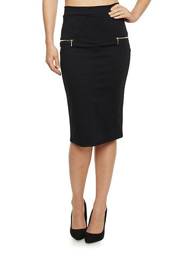 Pencil Skirt with Zipper Accents,BLACK,large