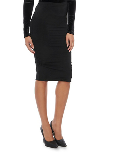 Pencil Skirt with Ruched Sides,BLACK,large