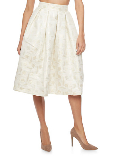 A Line Midi Skirt in Embossed Shimmer Knit,IVORY,large